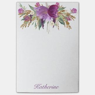 Púrpura y flores de la acuarela del oro notas post-it®
