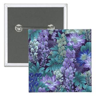 Púrpura y flores de la selva del trullo pin cuadrada 5 cm