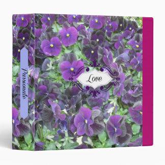 "Púrpura y flores de Lavendar Carpeta 1 1/2"""