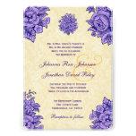 Púrpura y flores del vintage del oro que casan V34 Comunicados