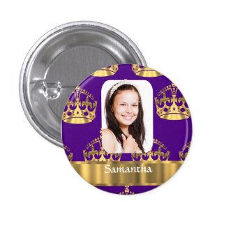 Púrpura y foto personalizada corona del oro pin redondo de 1 pulgada