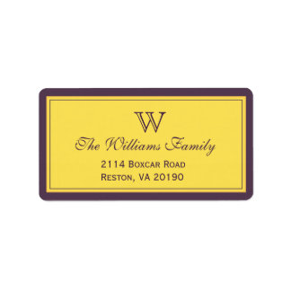 Púrpura y frontera de la obra clásica del oro etiquetas de dirección