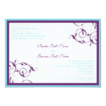 púrpura y invitación azul del boda del flourish