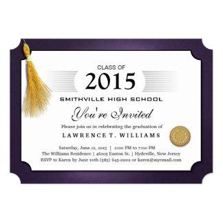 Púrpura y invitación de la graduación del diploma