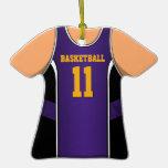 Púrpura y jersey 11 V1 del baloncesto del oro Ornamento Para Arbol De Navidad
