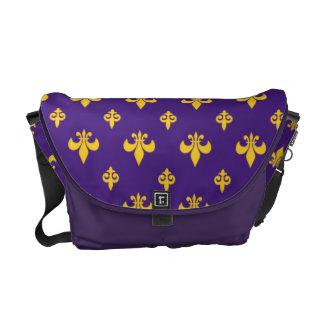 Púrpura y la bolsa de mensajero de la flor de lis bolsa de mensajería