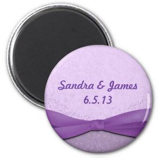 Púrpura y lavanda florales imán redondo 5 cm