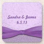 Púrpura y lavanda florales posavasos de bebida