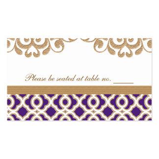 Púrpura y lugar marroquí de la tabla del boda del  tarjetas de visita