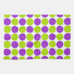 Púrpura y lunares de la cal toallas de cocina