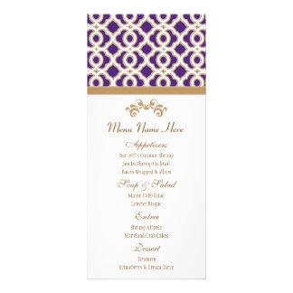 Púrpura y menú del marroquí del oro lona