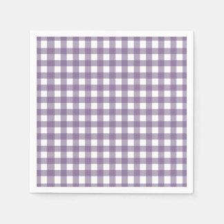 Púrpura y modelo comprobado blanco de la guinga servilletas de papel