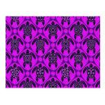 Púrpura y modelo de la tortuga del Mar Negro Postal