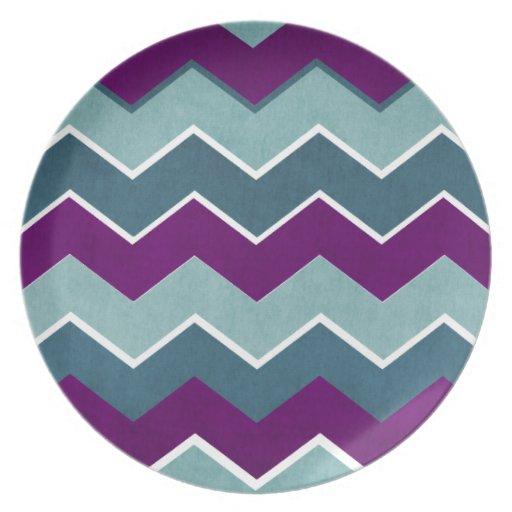 Púrpura y modelo de zigzag del trullo plato de cena
