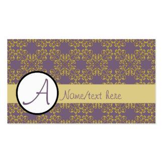 Púrpura y modelo del damasco de la mostaza tarjetas de visita