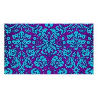 Púrpura y modelo del damasco del trullo tarjetas de visita