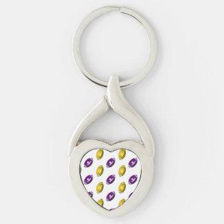 Púrpura y modelo del fútbol del oro llavero plateado en forma de corazón