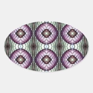 Púrpura y modelo geométrico del círculo del trullo calcomania de ovaladas
