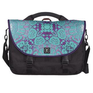 Púrpura y modelo grabado en relieve turquesa del d bolsas para ordenador