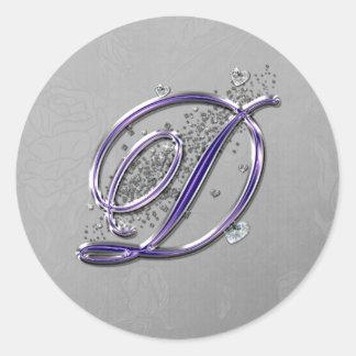 Púrpura y monograma D de la escritura de la Etiqueta Redonda