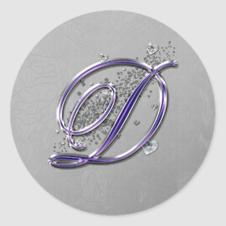 Púrpura y monograma D de la escritura de la Pegatina Redonda