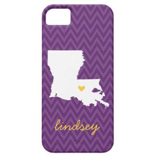 Púrpura y monograma de Chevron del amor de iPhone 5 Cárcasa