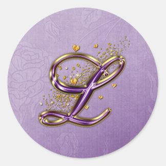 Púrpura y monograma L pegatina del brillo del oro