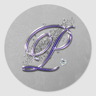 Púrpura y monograma P de la escritura de la Pegatina Redonda