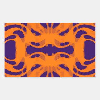 Púrpura y naranja de Etnic Pegatina Rectangular