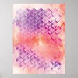 Púrpura y naranja geométricos posters