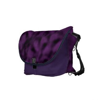 Púrpura y negro abigarrados bolsa de mensajeria
