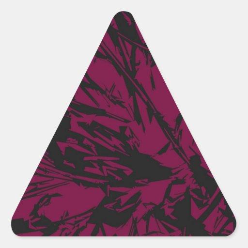 Púrpura y negro abstractos pegatina triangular