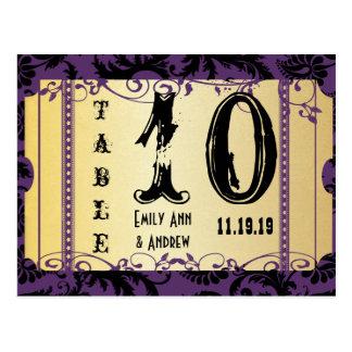 Púrpura y número de la tabla del damasco del tarjetas postales