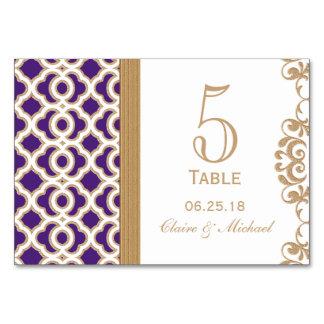 Púrpura y número marroquí de la tabla del boda del