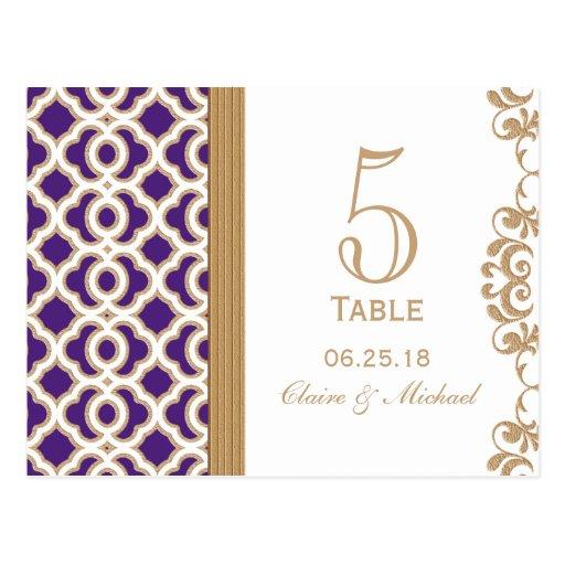 Púrpura y número marroquí de la tabla del boda del tarjeta postal