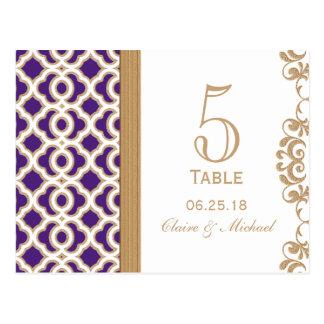 Púrpura y número marroquí de la tabla del boda del tarjetas postales