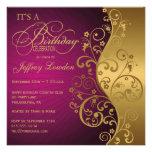 Púrpura y oro cualquier invitación de la fiesta de