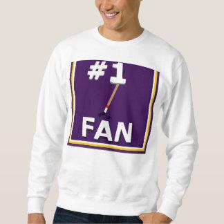 Púrpura y oro de la fan de hockey del número 1 sudadera