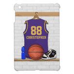 Púrpura y oro del jersey del baloncesto iPad mini cárcasas