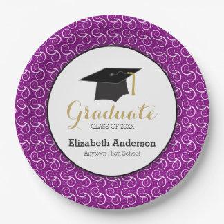 Púrpura y oro, graduación personalizada platos de papel