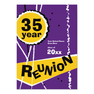 Púrpura y oro invitación de la reunión de antiguos invitación 12,7 x 17,8 cm
