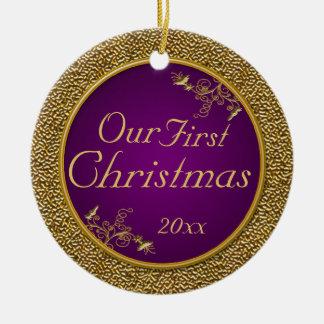 Púrpura y oro ornamento de nuestro primer navidad ornamentos de reyes