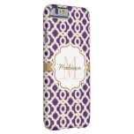 Púrpura y oro Quatrefoil del monograma Funda De iPhone 6 Barely There