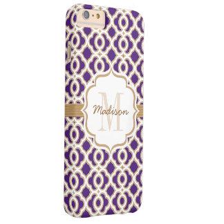Púrpura y oro Quatrefoil del monograma Funda Barely There iPhone 6 Plus