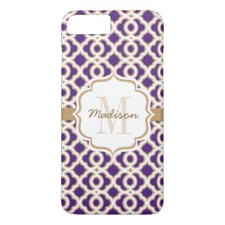 Púrpura y oro Quatrefoil del monograma Funda iPhone 7 Plus