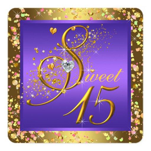 """Púrpura y oro Quinceanera Invitación 5.25"""" X 5.25"""""""