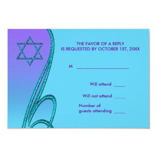 """Púrpura y palo azul Mitzvah RSVP del trullo Invitación 3.5"""" X 5"""""""