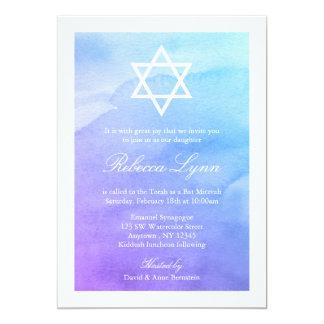 """Púrpura y palo Mitzvah de la acuarela del trullo Invitación 5"""" X 7"""""""
