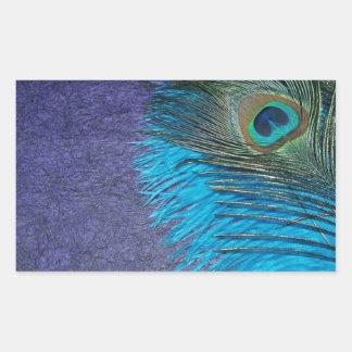 Púrpura y pavo real del trullo pegatina rectangular