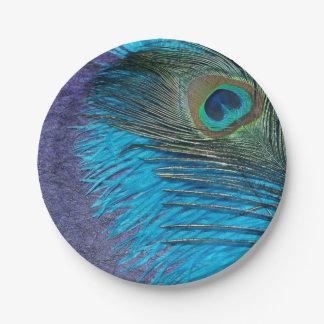 Púrpura y pavo real del trullo plato de papel